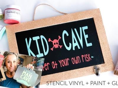 Using Stencil Vinyl - DIY Boy's Room Sign with Lauren