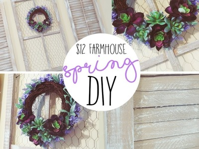 $12 DIY FARMHOUSE SPRING WINDOW AND SHUTTERS WITH SUCCULENT WREATH! | DIY SPRING DECOR
