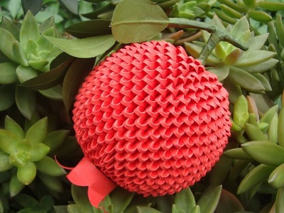 3D Origami Pomegranate Fruit Tutorial | DIY Paper Pomegranate Fruit Tutorial