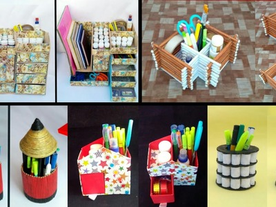 5 ideas of desk organiser | Newspaper craft ideas | best use of old newspaper | HMA##317