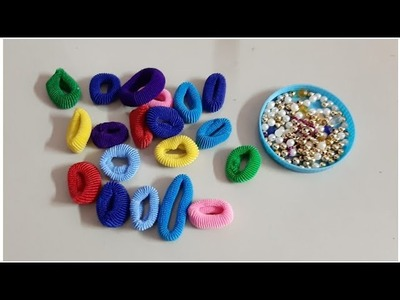 DIY awesome craft out of  waste hair rubber band.Best out of waste.DIY Room decor (147)
