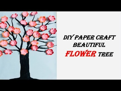 DIY! How to make beautiful flower tree. paper craft. home decor. wall decoration ideas. paper flower