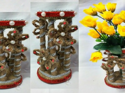 DIY POTS AT HOME. FLOWER POTS MAKING CRAFT.ROPE AND  NEWS PAPER USING VASE, POTS.