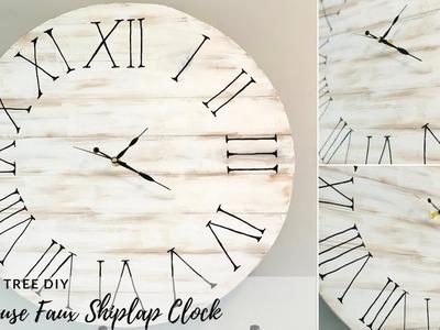 Dollar Tree Farmhouse DIY Faux Shiplap Clock