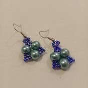 Handmade Blue Pearl Earrings