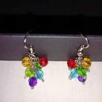 Handmade Rainbow Colour Beads Earrings