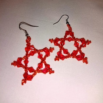 Handmade Red Star Earrings