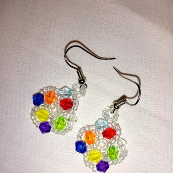 Handmade Tiny Rainbow colour Earrings