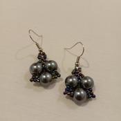 Handmade Triangle Grey Pearl Earrings