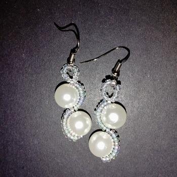 Handmade White Pearl Earrings