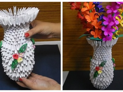 How To Make A  Paper Flower Vase  (Diy origami Paper Craft )