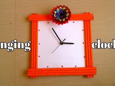 How To Make Paper Hanging Clock || DIY Wall Hanging Clock Craft