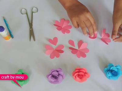 How to make Small Paper rose DIY ???????? | kagojer golapful | ????????paper craft flower