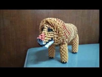 Papercraft 3d origami lion tutorial Part 4