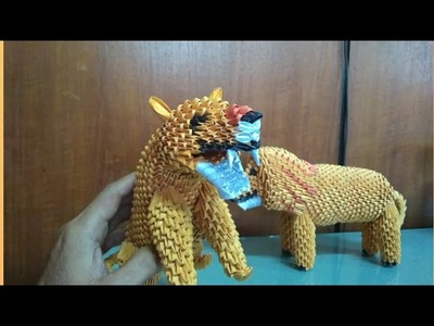 Papercraft 3d origami lioness tutorial part 4