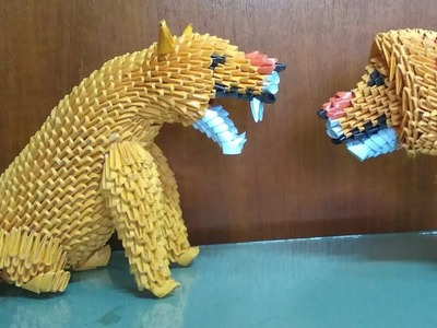 Papercraft 3d origami lioness tutorial part 1