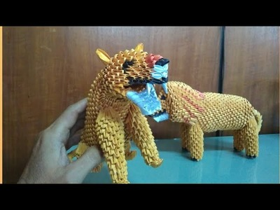 Papercraft 3d origami lioness tutorial part 2