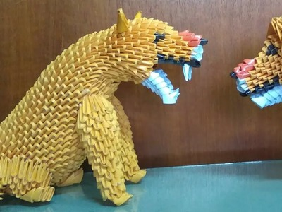 Papercraft 3d origami lioness tutorial part 3
