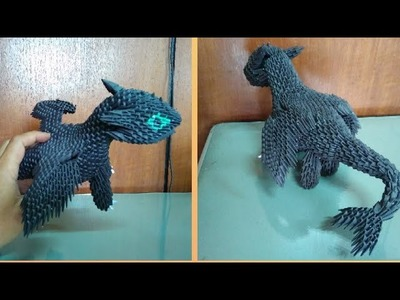 Papercraft 3d origami toothless night fury dragon tutorial part 1