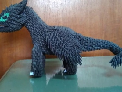 Papercraft 3d origami toothless night fury dragon tutorial part 4