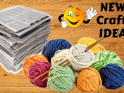 Unique !! Newspaper & woolen craft idea | DIY Room Decor