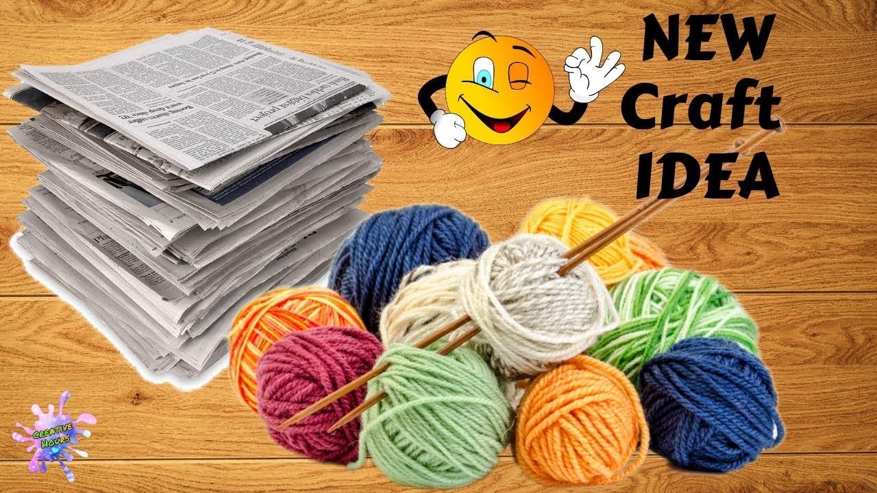 Unique !! Newspaper & woolen craft idea   DIY Room Decor