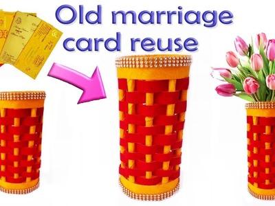 Best Reuse of Waste Marriage Card Craft Idea | DIY Easy Paper Flower Vase | Best Out Of Waste Idea