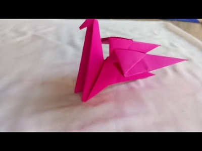Bird making with origami paper craft