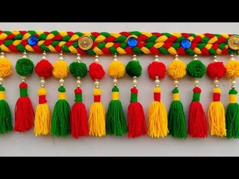 DIY - BEAUTIFUL DOOR HANGING TORAN COOL CRAFT STEP BY STEP \ AWESOME WOOLEN CRAFT DOOR TORAN ||