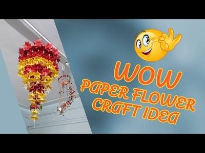 DIY | Paper Flower Craft | Amazing Paper Flower Jumer.Jhumar | Wall hanging Idea