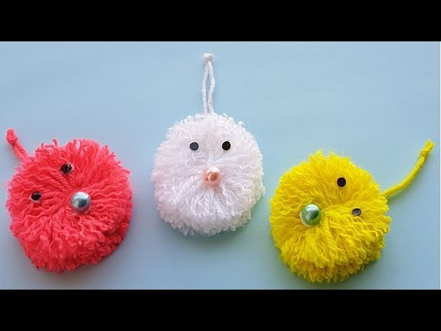 DIY Pom Pom Cat, Very Easy Wool Trick, DIY wool Craft