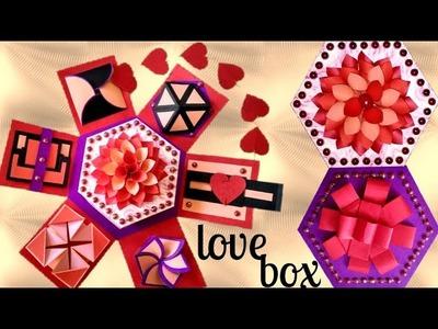 Hexagon Explosion Box Gift Idea For Birthday ❤. Birthday Gift Ideas Homemade. Handmade Craft inside