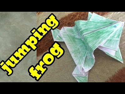 How to make jumping paper frog|funny craft for kids|paper frog|simply mix