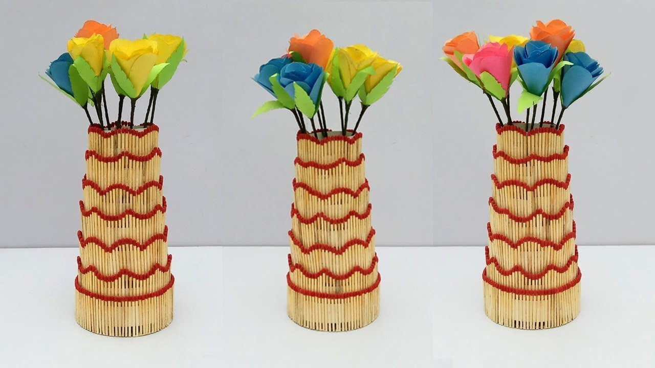 How To Make Flower Vase From Matchstick Simple Craft Ideas Classy