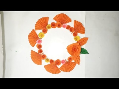 Paper craft idea -Wall decoration Papar flower- simple wall hanging decoration