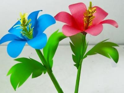 কাগজ দিয়ে চমৎকার ফুল- How to make paper craft flower. Crafts BD