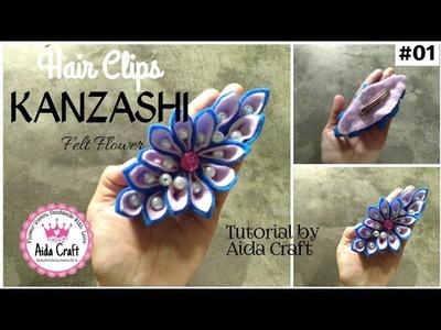 AC |DIY |20| FELT FLOWER KANZASHI | HAIR CLIP FOR KIDS ACCESSORIES | Tutorial Bunga Kanzashi Flanel