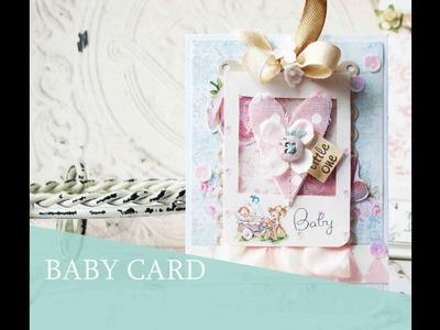 Baby Girl Card. Tarjeta para Bebe.  DIY Tutorial SCRAPBOOKING   Iralamija