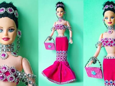 Barbie in LEHENGA ❤️ Indian Barbie Doll Party Dress.Jewelry Making | DIY Barbie Designer Dresses