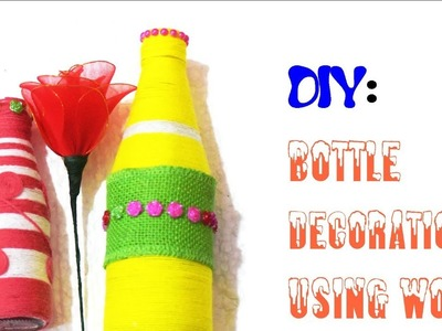 DIY: Bottle Decor using wool