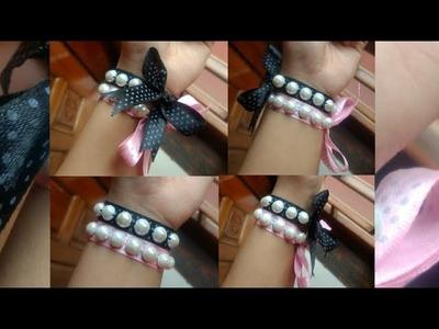 DIY Bracelet   Ribbon pearl bracelet tutorial