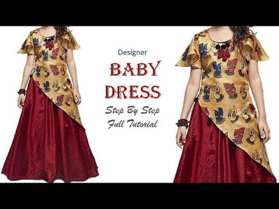 DIY Designer Baby Dress With Umbrella Sleeves Full Tutorial