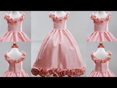 DIY Designer Baby Frock Decorated With Fabric Flower Full Tutorial