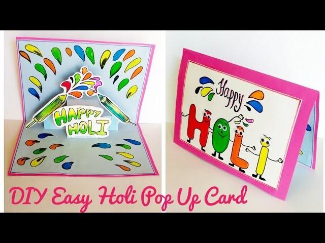 Diy. How to make Easy Holi Card | pop up #holicard  Tutorial #Kidscraft  #colourscreativi