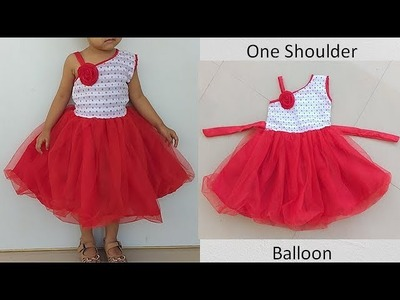 Diy One Shoulder Balloon Baby Frock Cutting & Stitching Full Tutorial