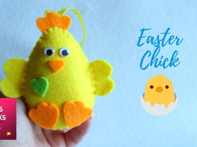 Easy Easter Chick Felt Ornament DIY Tutorial | Easter Crafts.