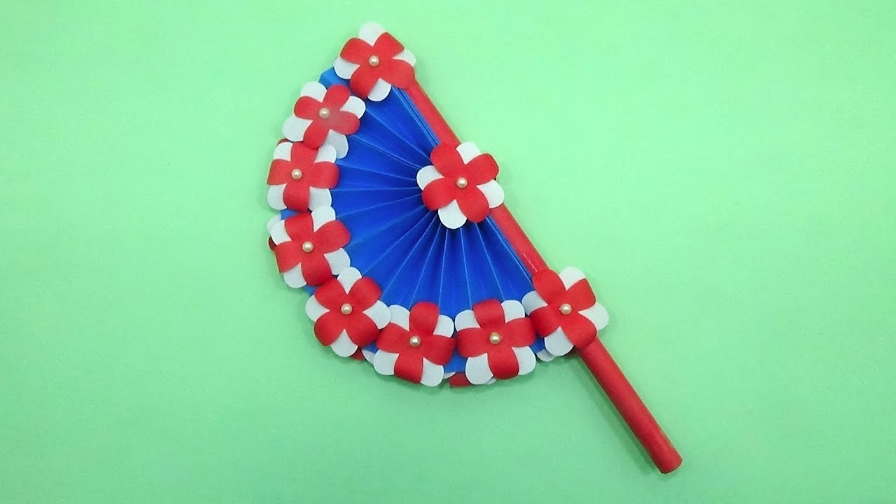 How to Make a Paper Fan - DIY Paper Hand Fan Making With Color Paper