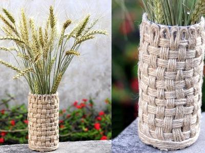 How to Make Flower Vase - Handmade Jute Rope Table Vase Craft