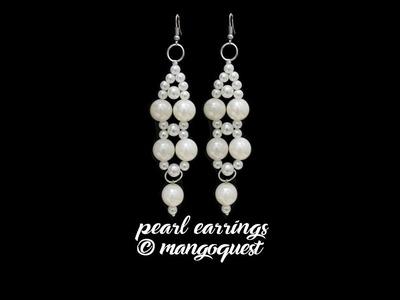 Long Pearl Earrings Tutorial Fashion Jewellery DIY