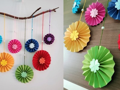 Paper flower wall hanging | DIY easy paper crafts tutorial - Wall decoration ideas